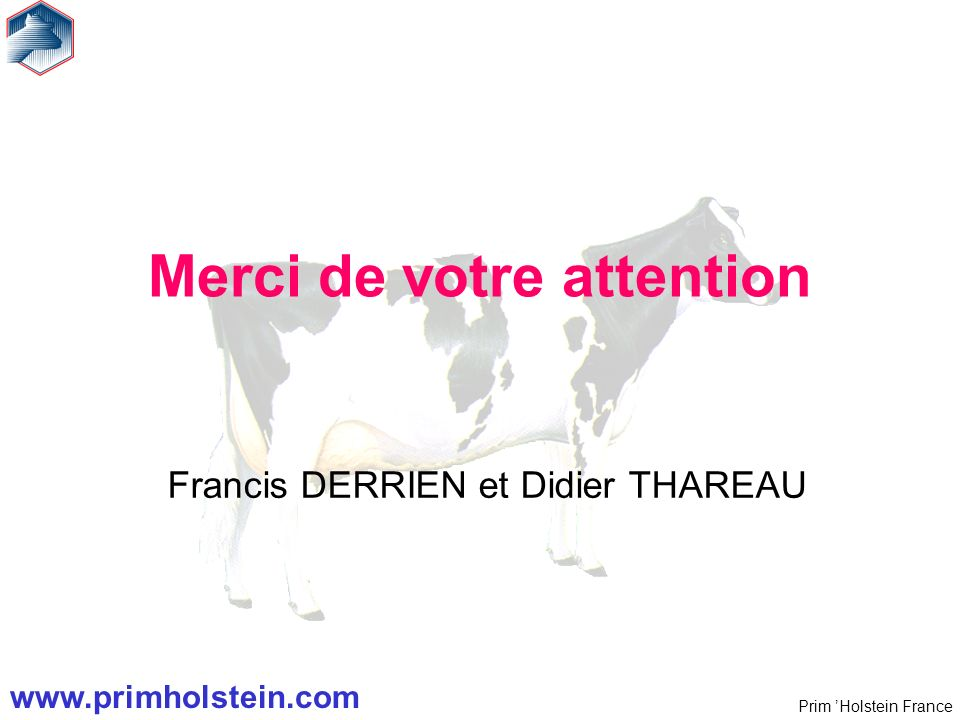 Prim Holstein France Merci de votre attention Francis DERRIEN et Didier THAREAU www.primholstein.com