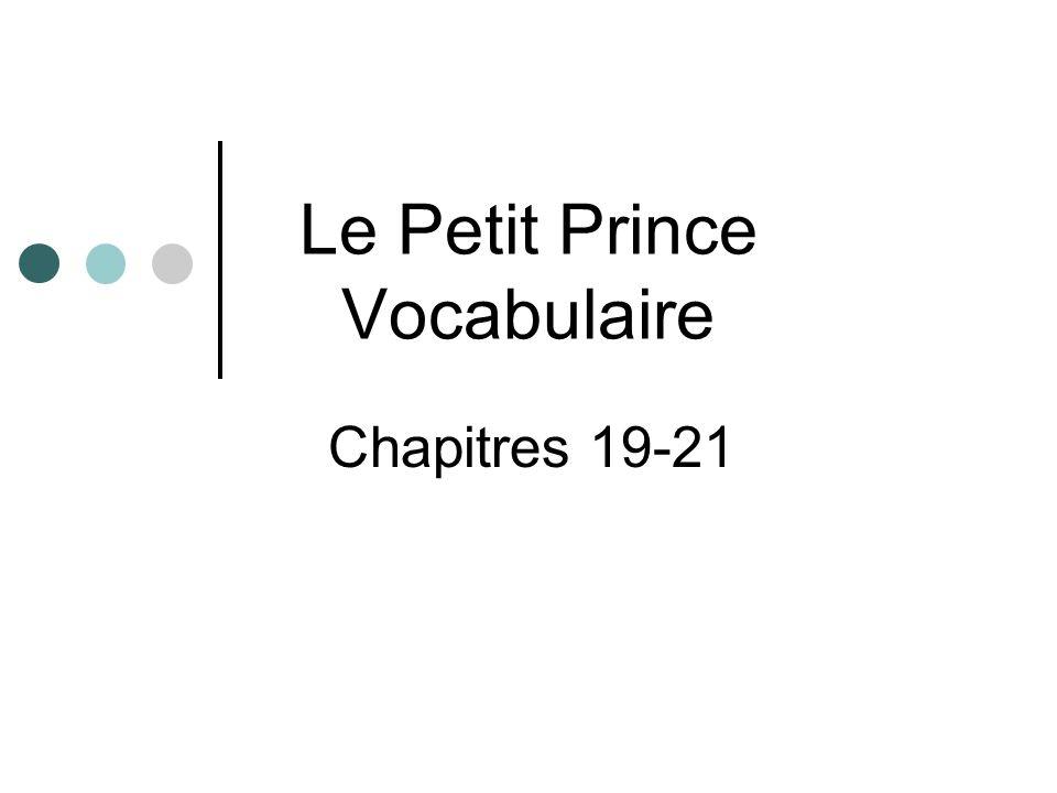 Le Petit Prince Vocabulaire Chapitres 19-21