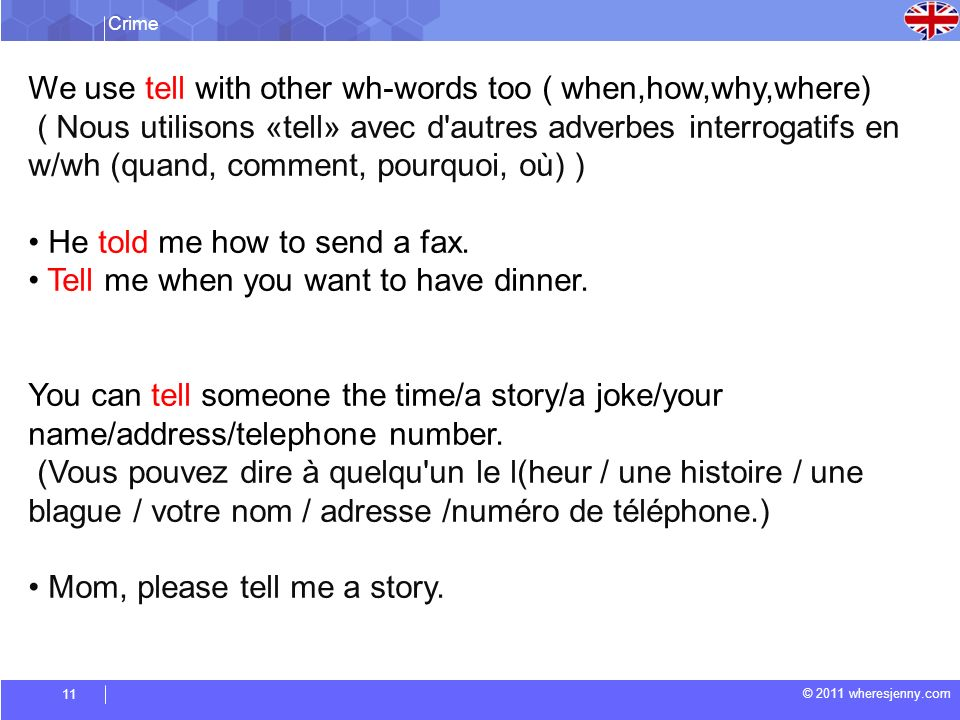 Crime © 2011 wheresjenny.com 11 We use tell with other wh-words too ( when,how,why,where) ( Nous utilisons «tell» avec d autres adverbes interrogatifs en w/wh (quand, comment, pourquoi, où) ) He told me how to send a fax.