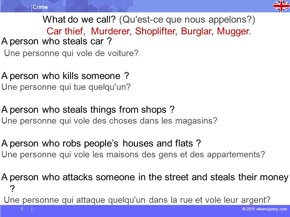 Crime © 2011 wheresjenny.com 8 GRAMMAR TOPIC Say and Tell when to use (Quand utiliser «say» ou «tell»?)
