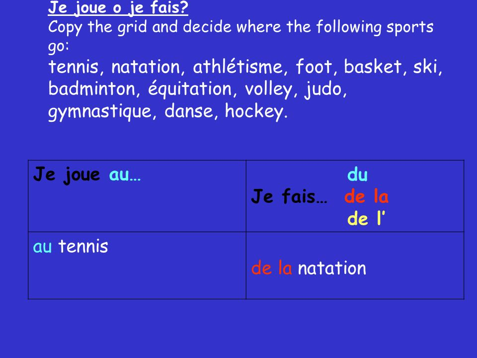 Je joue o je fais? Copy the grid and decide where the following sports go: tennis, natation, athlétisme, foot, basket, ski, badminton, équitation, vol