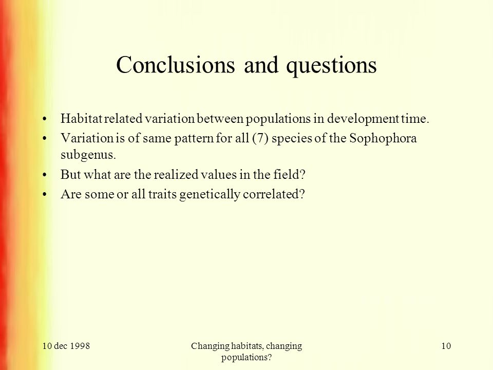 10 dec 1998Changing habitats, changing populations? 10 Conclusions and questions Habitat related variation between populations in development time. Va