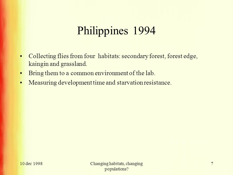 10 dec 1998Changing habitats, changing populations.