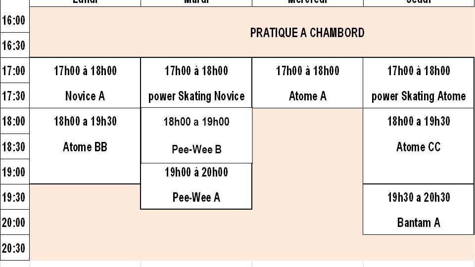 18h00 a 19h00 Pee-Wee B