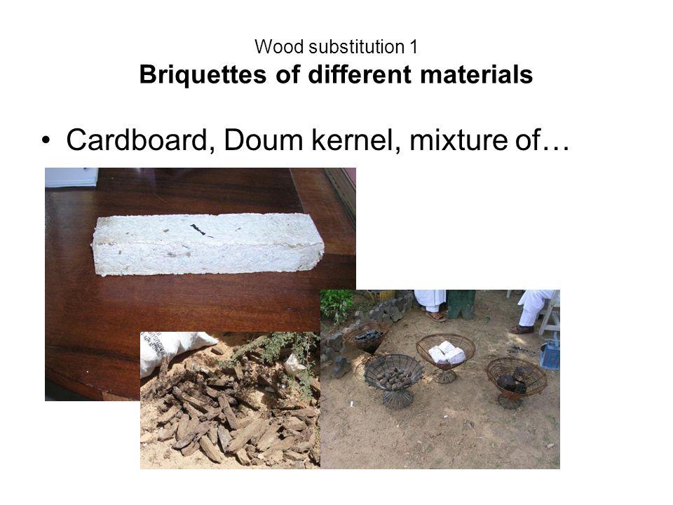 Wood substitution 1 Briquettes of different materials Cardboard, Doum kernel, mixture of…