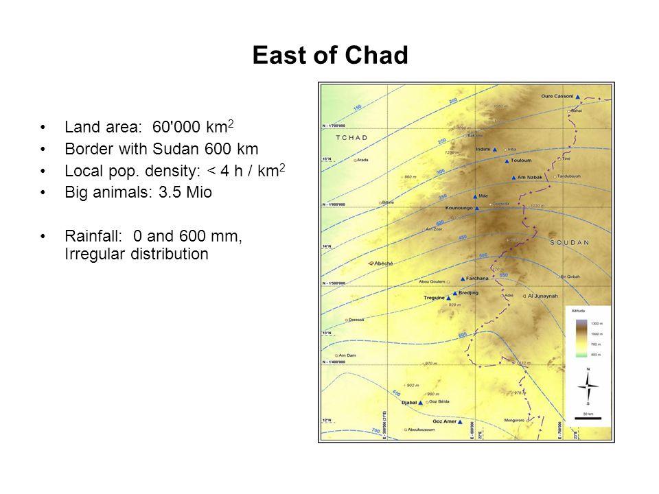 East of Chad Land area: 60'000 km 2 Border with Sudan 600 km Local pop. density: < 4 h / km 2 Big animals: 3.5 Mio Rainfall: 0 and 600 mm, Irregular d