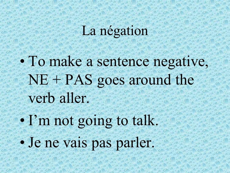 La négation To make a sentence negative, NE + PAS goes around the verb aller.