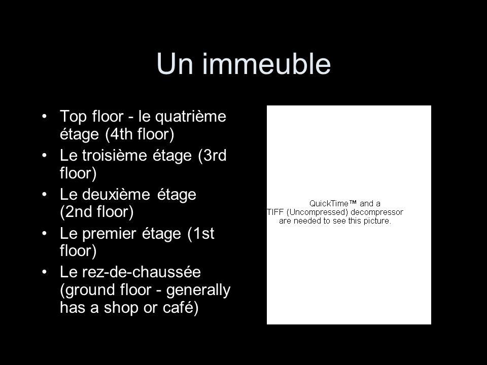 Un immeuble Top floor - le quatrième étage (4th floor) Le troisième étage (3rd floor) Le deuxième étage (2nd floor) Le premier étage (1st floor) Le re