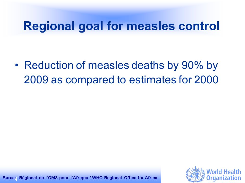 Bureau Régional de lOMS pour lAfrique / WHO Regional Office for Africa 4 Regional goal for measles control Reduction of measles deaths by 90% by 2009 as compared to estimates for 2000