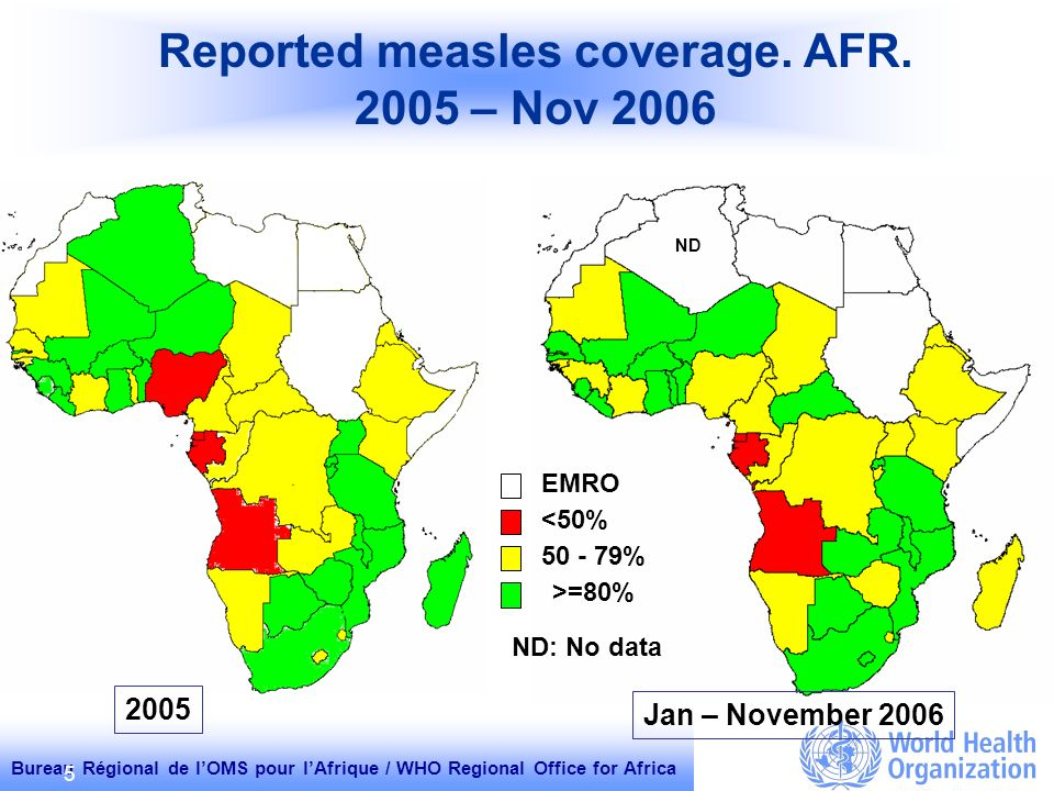 Bureau Régional de lOMS pour lAfrique / WHO Regional Office for Africa 5 ND Reported measles coverage.