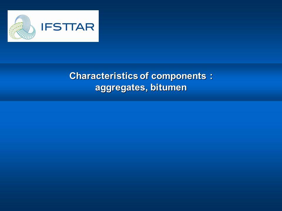 Characteristics of components : aggregates, bitumen