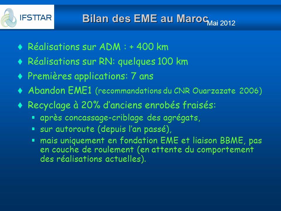 Bilan des EME au Maroc Réalisations sur ADM : + 400 km Réalisations sur RN: quelques 100 km Premières applications: 7 ans Abandon EME1 (recommandation