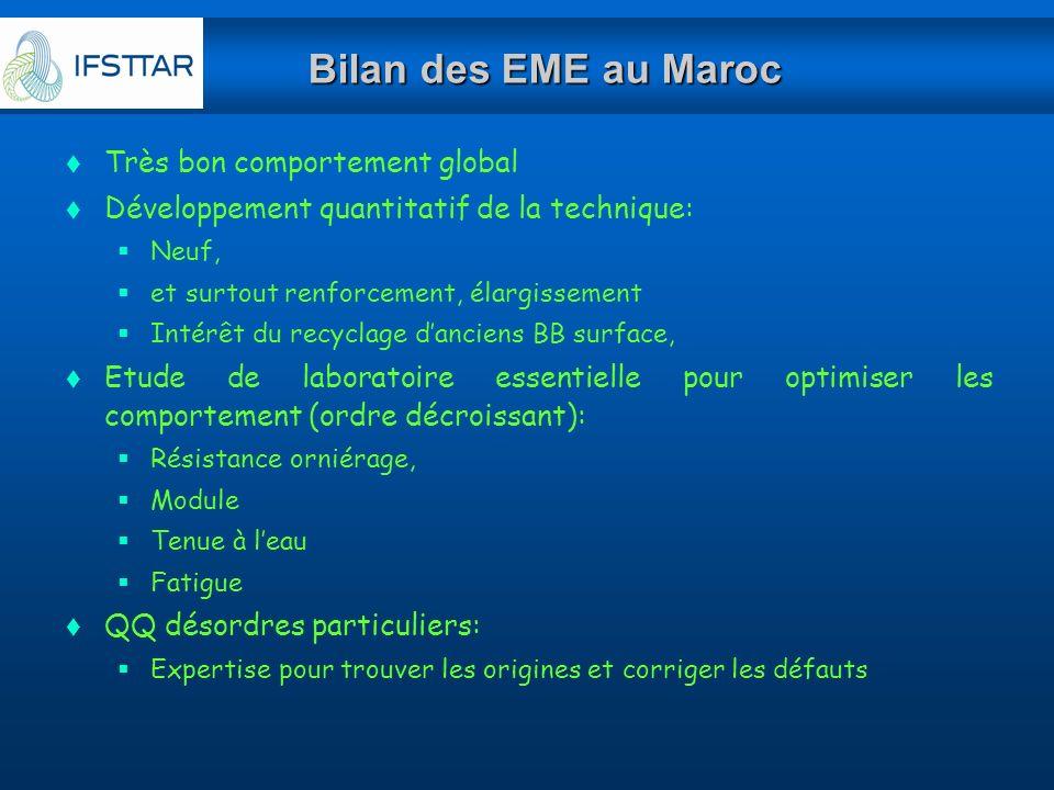 Bilan des EME au Maroc Très bon comportement global Développement quantitatif de la technique: Neuf, et surtout renforcement, élargissement Intérêt du