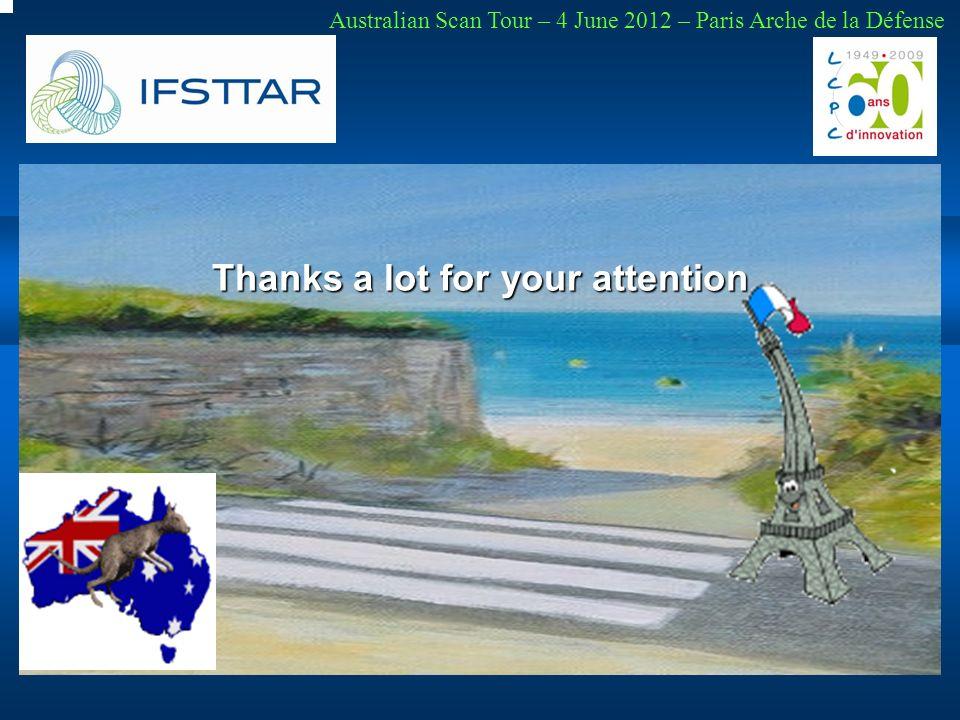 Thanks a lot for your attention Australian Scan Tour – 4 June 2012 – Paris Arche de la Défense