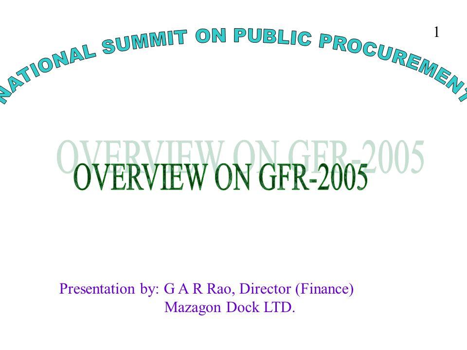 Presentation by: G A R Rao, Director (Finance) Mazagon Dock LTD. 1