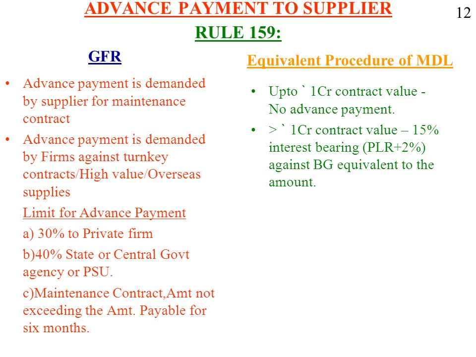 ADVANCE PAYMENT TO SUPPLIER RULE 159: Advance payment is demanded by supplier for maintenance contract Advance payment is demanded by Firms against tu