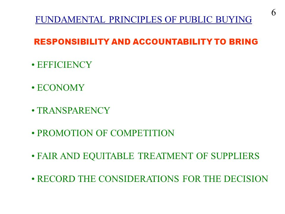 FUNDAMENTAL PRINCIPLES OF PUBLIC BUYING RESPONSIBILITY AND ACCOUNTABILITY TO BRING EFFICIENCY ECONOMY TRANSPARENCY PROMOTION OF COMPETITION FAIR AND E