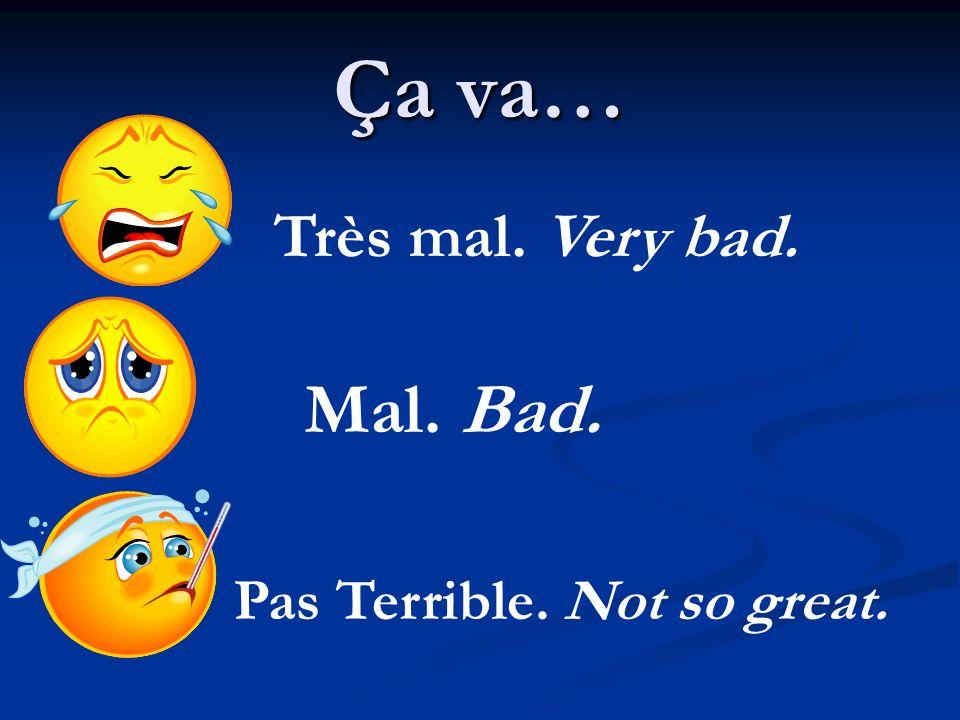 Ça va… Très mal. Very bad. Mal. Bad. Pas Terrible. Not so great.