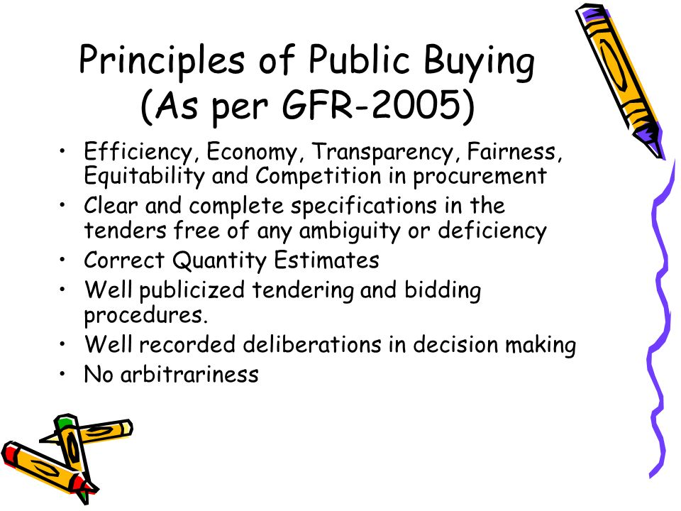 Principles of Public Buying Contd.. Recent initiatives Right to Information Act2005 Integrity pact