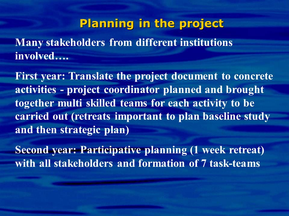Planning in the project Many stakeholders from different institutions involved…. First year: Translate the project document to concrete activities - p