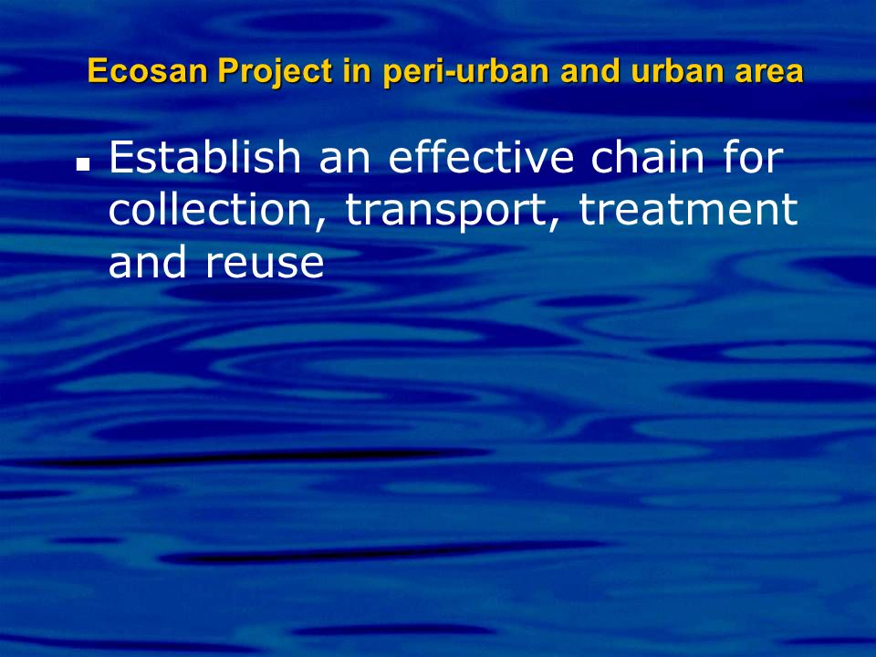 Ecosan Project in peri-urban and urban area Establish an effective chain for collection, transport, treatment and reuse