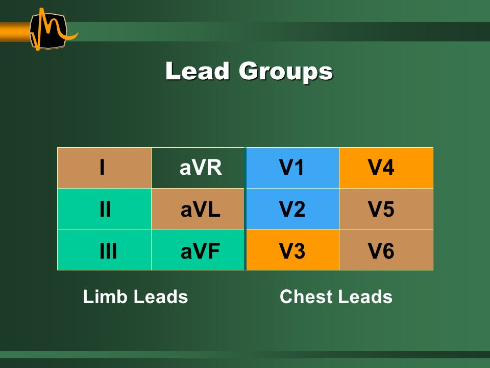 Limb LeadsChest Leads IaVRV1V4 IIaVLV2V5 IIIaVFV3V6 Lead Groups