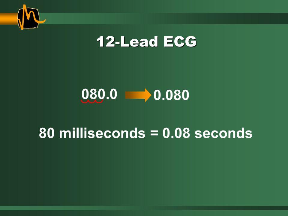 12-Lead ECG 80 milliseconds = 0.08 seconds 0.080 080.0