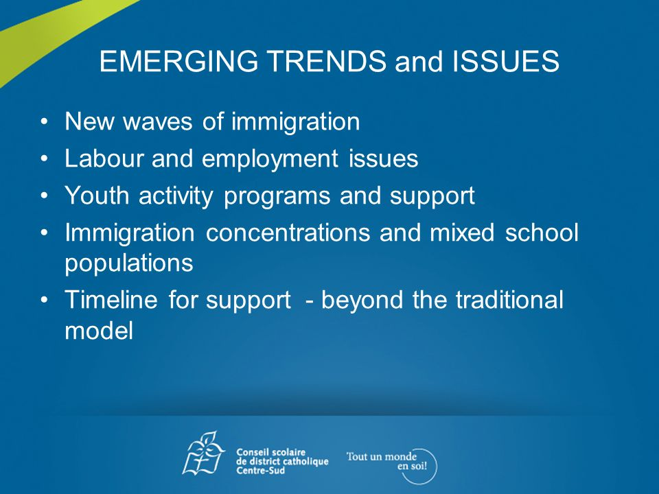 EMERGING TRENDS and ISSUES New waves of immigration Labour and employment issues Youth activity programs and support Immigration concentrations and mi