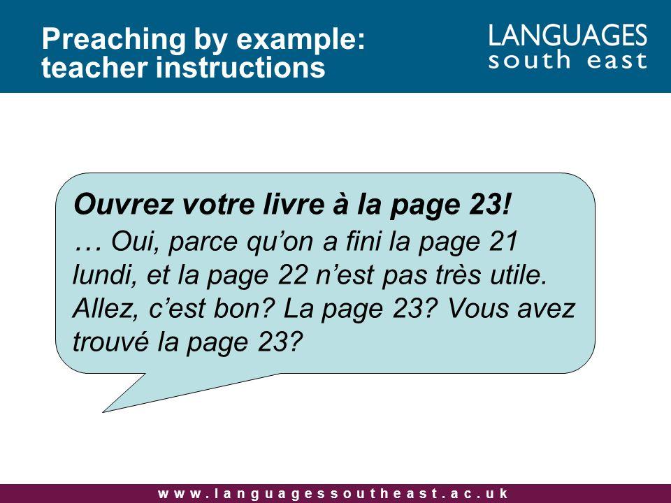 www.languagessoutheast.ac.uk Ouvrez votre livre à la page 23.