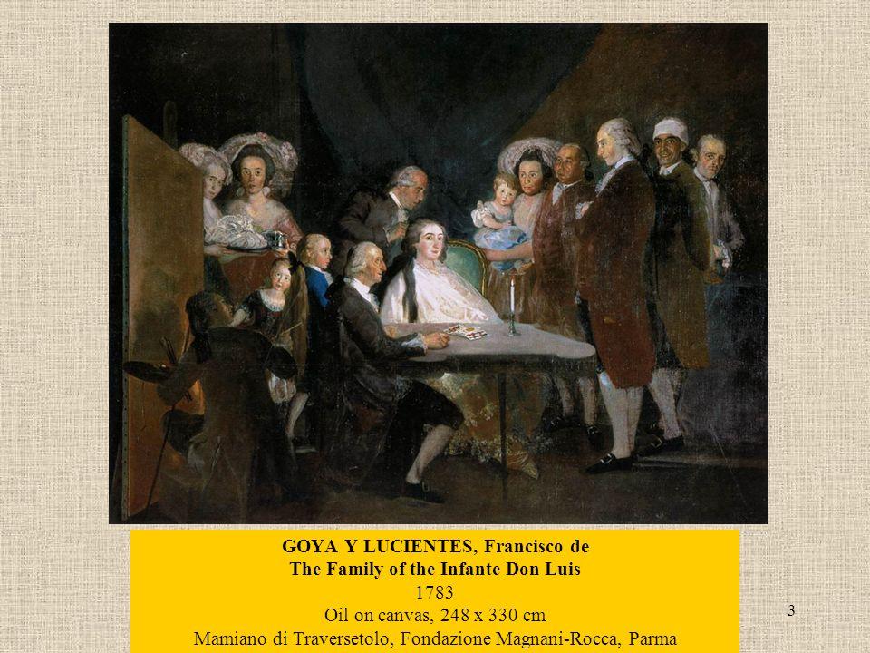 3 GOYA Y LUCIENTES, Francisco de The Family of the Infante Don Luis 1783 Oil on canvas, 248 x 330 cm Mamiano di Traversetolo, Fondazione Magnani-Rocca