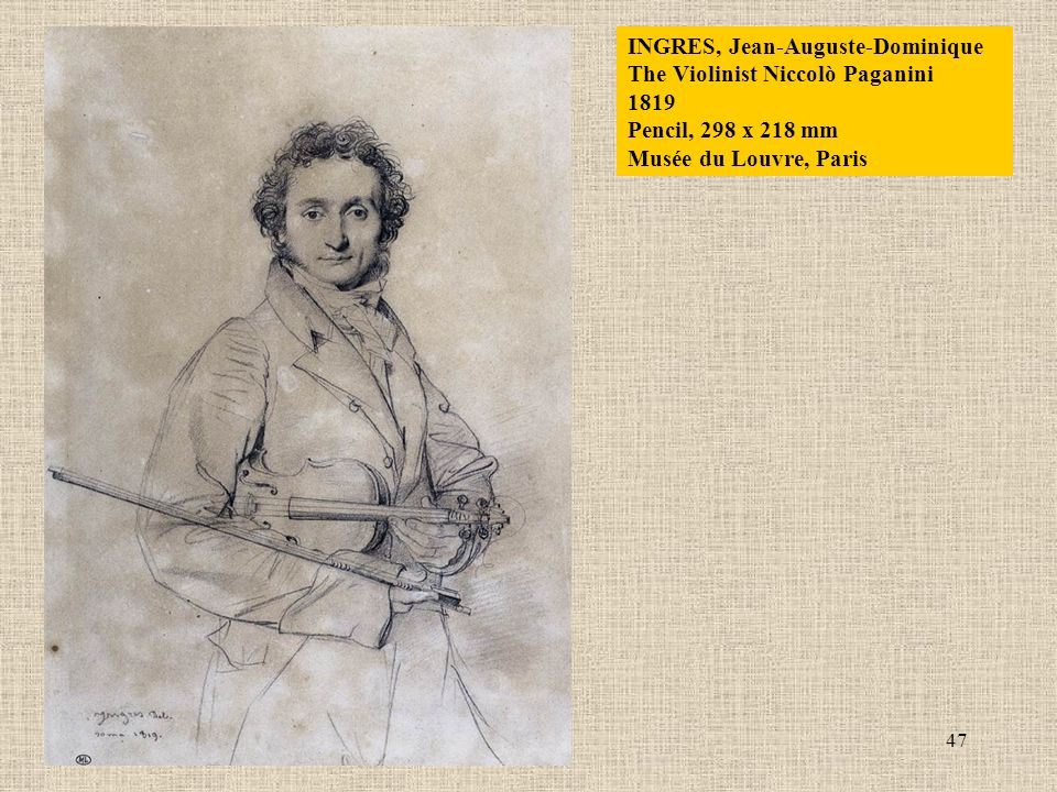 47 INGRES, Jean-Auguste-Dominique The Violinist Niccolò Paganini 1819 Pencil, 298 x 218 mm Musée du Louvre, Paris