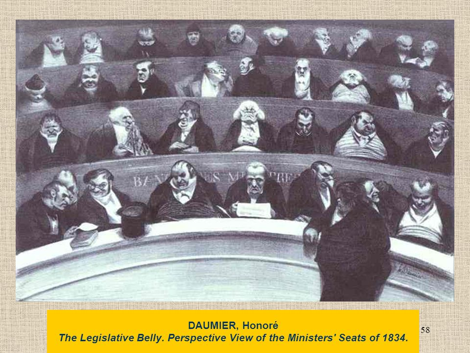 58 DAUMIER, Honoré The Legislative Belly. Perspective View of the Ministers' Seats of 1834.