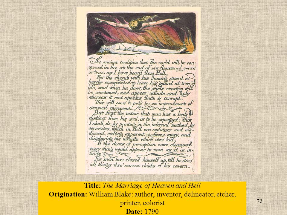 73 Title: The Marriage of Heaven and Hell Origination: William Blake: author, inventor, delineator, etcher, printer, colorist Date: 1790