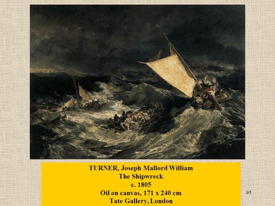 95 TURNER, Joseph Mallord William The Shipwreck c. 1805 Oil on canvas, 171 x 240 cm Tate Gallery, London