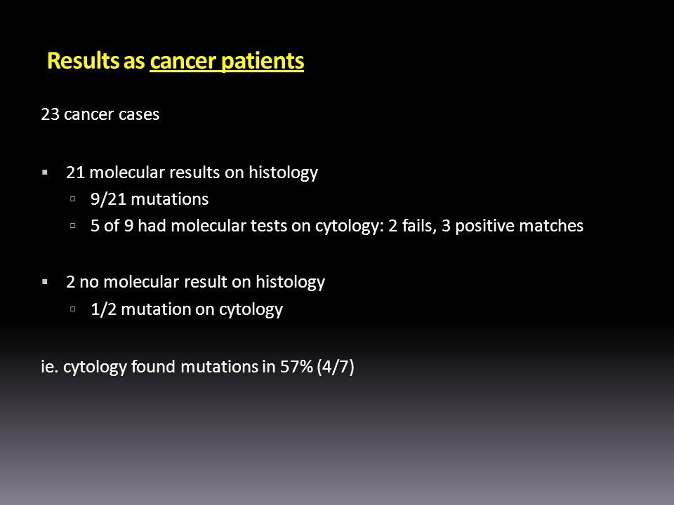 Results as cancer patients 23 cancer cases 21 molecular results on histology 9/21 mutations 5 of 9 had molecular tests on cytology: 2 fails, 3 positiv