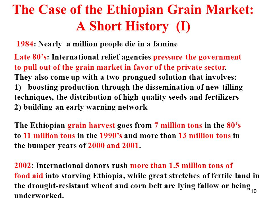 10 The Case of the Ethiopian Grain Market: A Short History (I) 1984: Nearly a million people die in a famine Late 80s: International relief agencies p