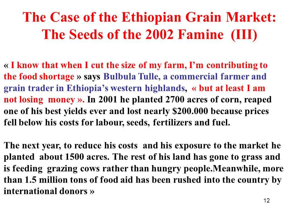 12 The Case of the Ethiopian Grain Market: The Seeds of the 2002 Famine (III) « I know that when I cut the size of my farm, Im contributing to the foo
