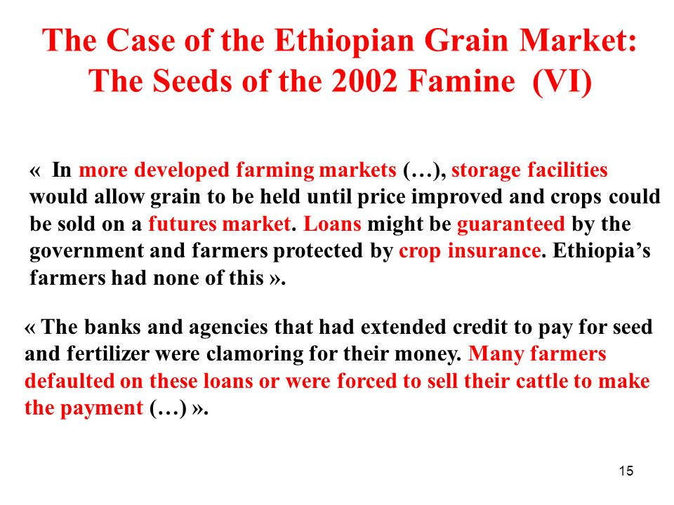 15 The Case of the Ethiopian Grain Market: The Seeds of the 2002 Famine (VI) « In more developed farming markets (…), storage facilities would allow g