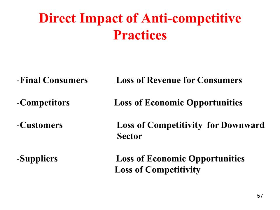 57 Direct Impact of Anti-competitive Practices -Final Consumers Loss of Revenue for Consumers -Competitors Loss of Economic Opportunities -Customers L