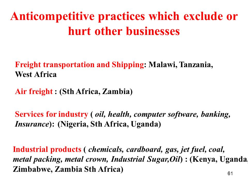 61 Anticompetitive practices which exclude or hurt other businesses Freight transportation and Shipping: Malawi, Tanzania, West Africa Air freight : (