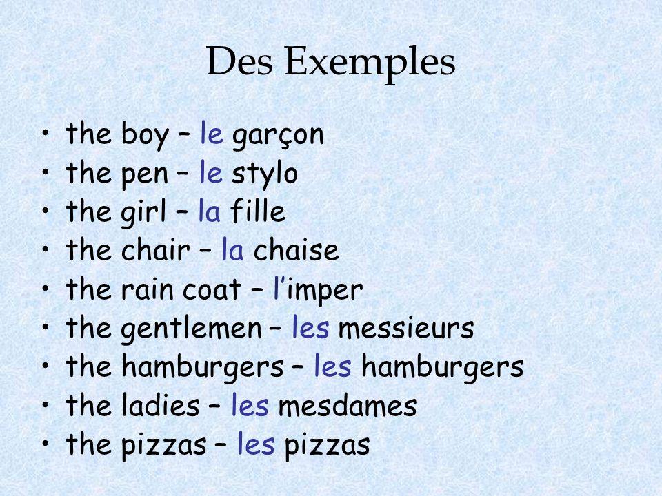 Des Exemples the boy – le garçon the pen – le stylo the girl – la fille the chair – la chaise the rain coat – limper the gentlemen – les messieurs the