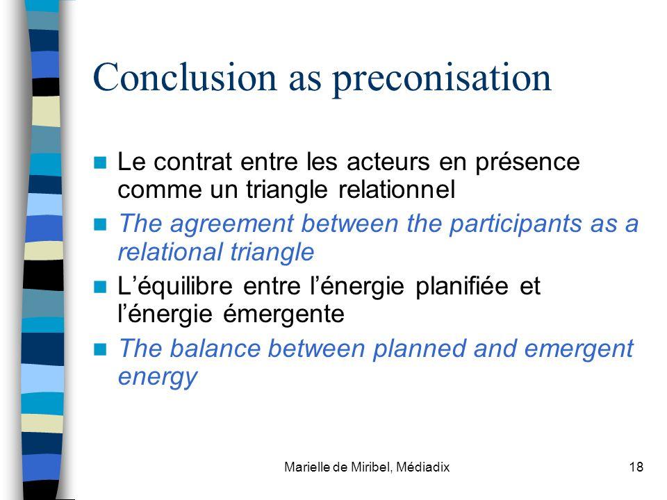 Marielle de Miribel, Médiadix18 Conclusion as preconisation Le contrat entre les acteurs en présence comme un triangle relationnel The agreement betwe