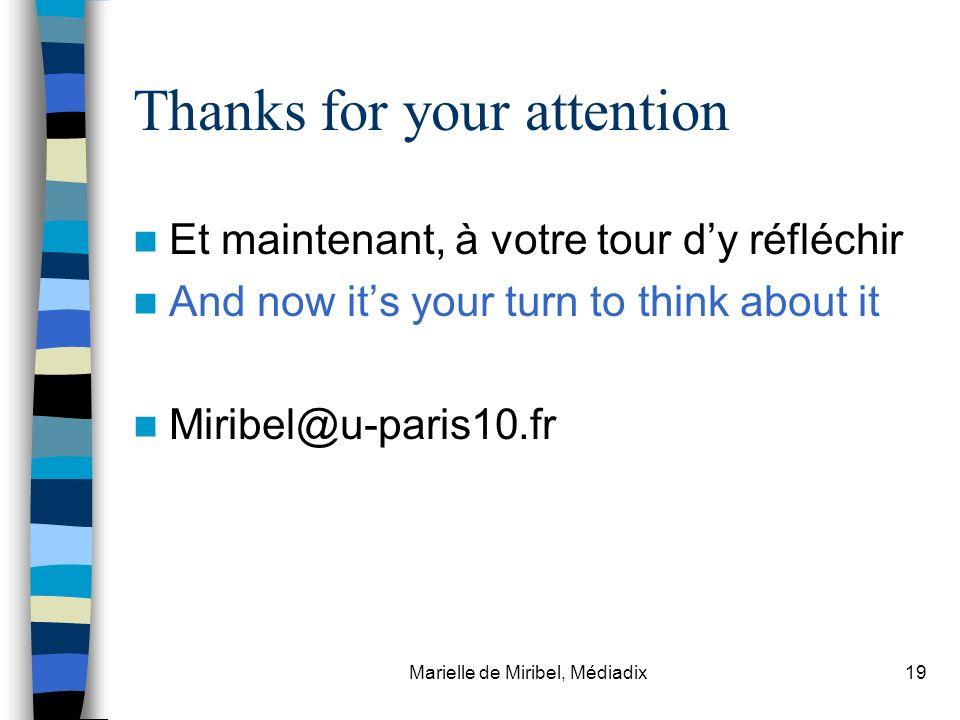 Marielle de Miribel, Médiadix19 Thanks for your attention Et maintenant, à votre tour dy réfléchir And now its your turn to think about it Miribel@u-p