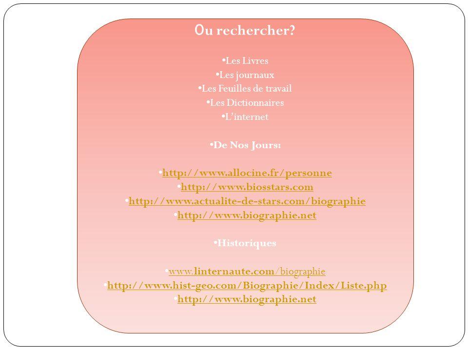 O u rechercher? Les Livres Les journaux Les Feuilles de travail Les Dictionnaires Linternet De Nos Jours: http://www.allocine.fr/personne http://www.b