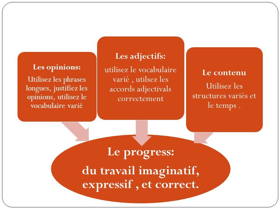 Le progress: du travail imaginatif, expressif, et correct. Les opinions: Utilisez les phrases longues, justifiez les opinions, utilisez le vocabulaire