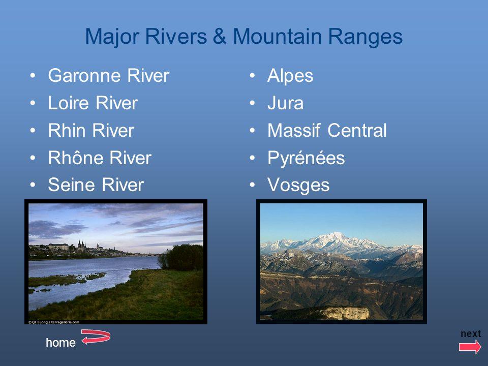 Major Rivers & Mountain Ranges Garonne River Loire River Rhin River Rhône River Seine River Alpes Jura Massif Central Pyrénées Vosges home next