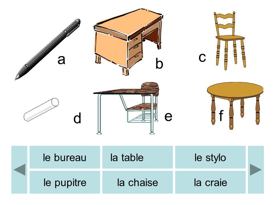 le bureaula tablele stylo le pupitrela chaisela craie a b c d ef