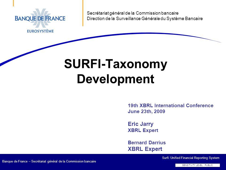SENSITIVITY LEVEL : PUBLIC Surfi: Unified Financial Reporting System Banque de France – Secrétariat général de la Commission bancaire 19th XBRL Intern