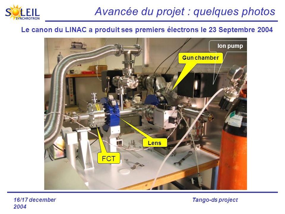 16/17 december 2004 Tango-ds project Gun chamber Ion pump FCT Lens Le canon du LINAC a produit ses premiers électrons le 23 Septembre 2004 Avancée du projet : quelques photos