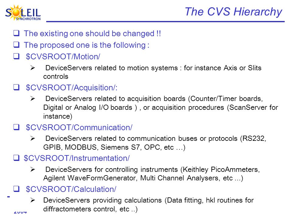 16/17 december 2004 Tango-ds project The CVS Hierarchy The existing one should be changed !.